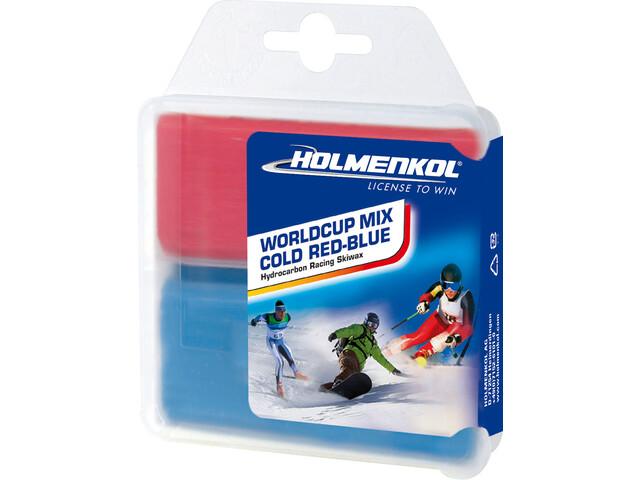 Holmenkol Worldcup Mix Cold Wosk 2 x 35g, czerwony/niebieski